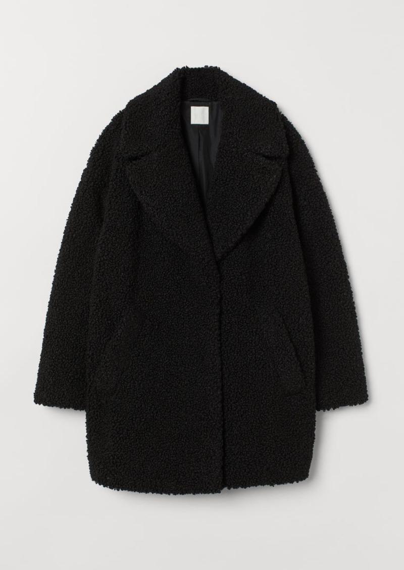 H&M H & M - Short Faux Shearling Coat - Black