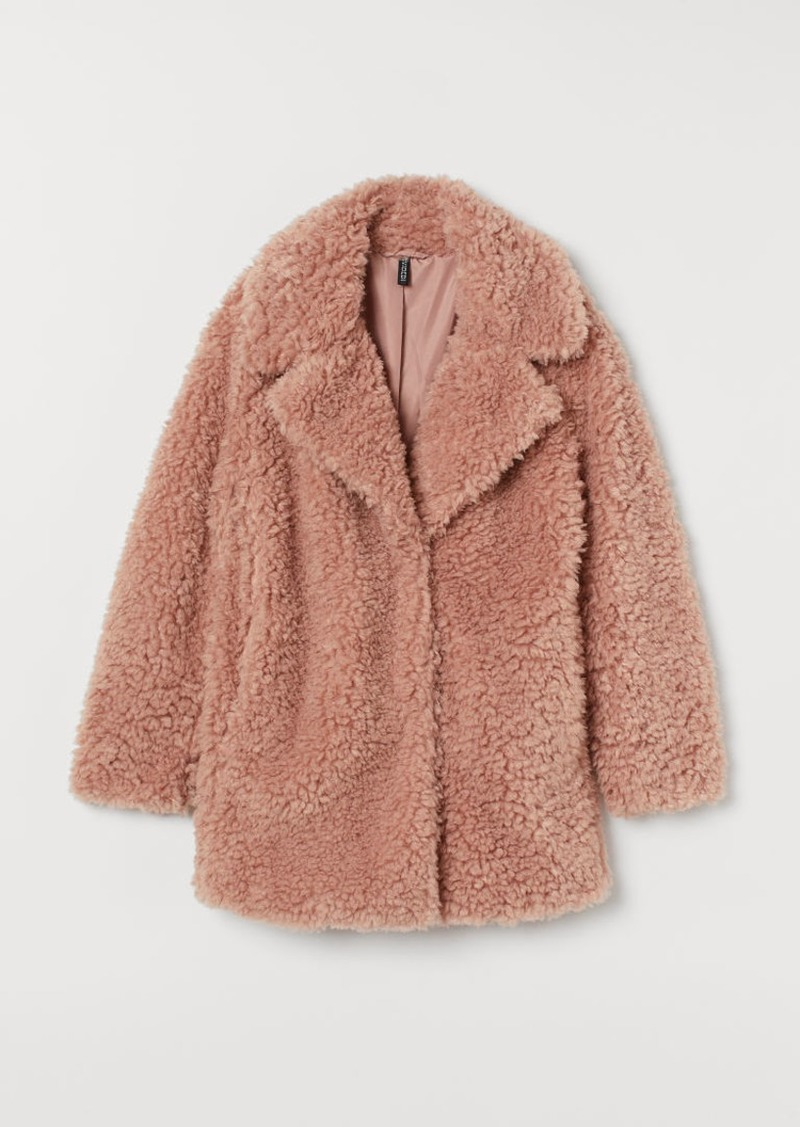 H&M H & M - Short Faux Shearling Coat - Orange