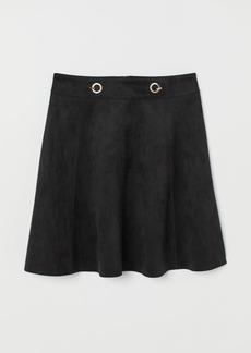 H&M H & M - Short Faux Suede Skirt - Black