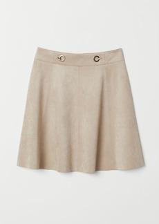 H&M H & M - Short Faux Suede Skirt - Brown