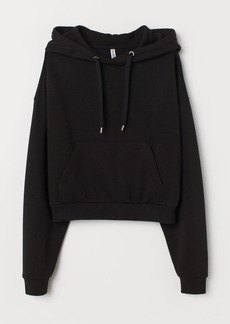 H&M H & M - Short Hooded Sweatshirt - Black