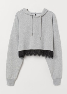 H&M H & M - Short Hoodie with Lace - Gray