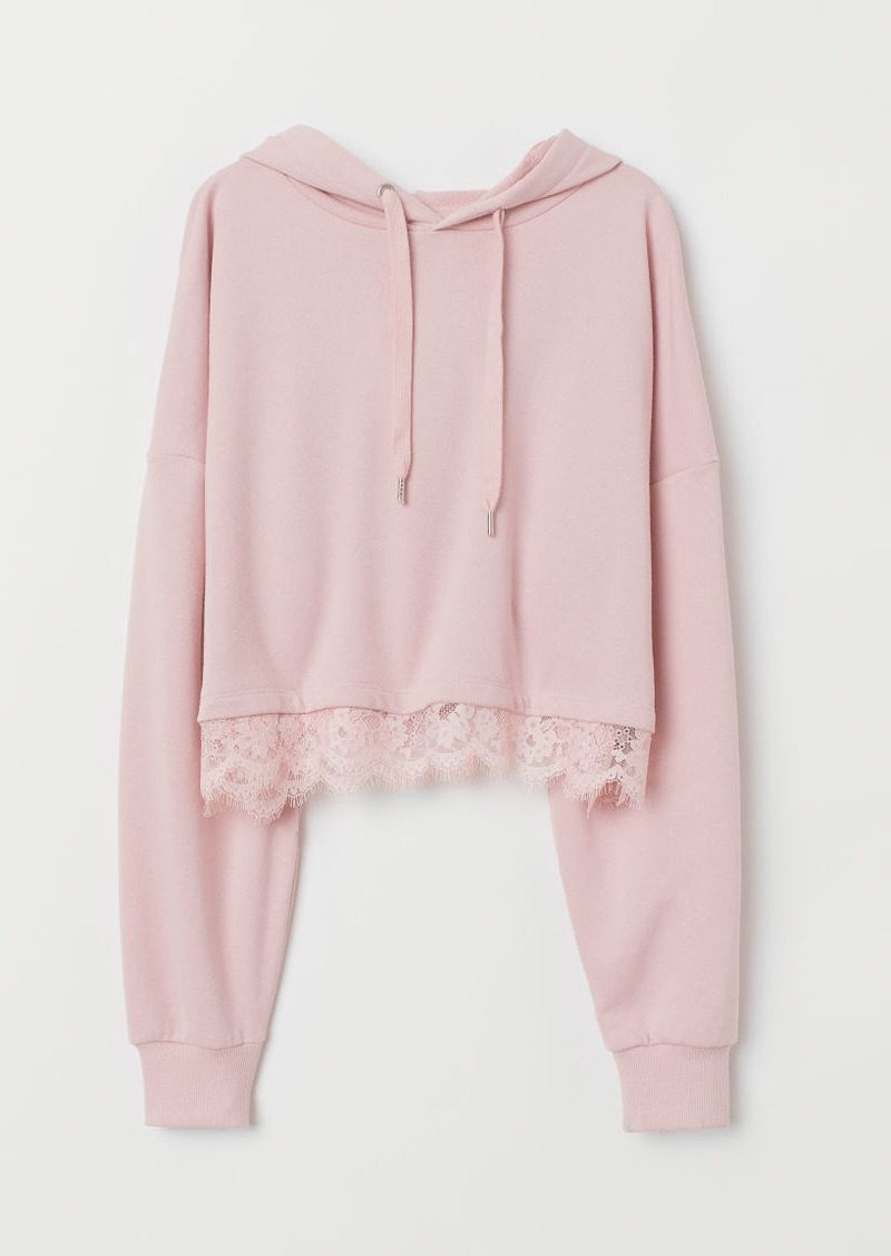H&M H & M - Short Hoodie with Lace - Pink