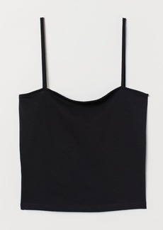 H&M H & M - Cropped Jersey Camisole Top - Black