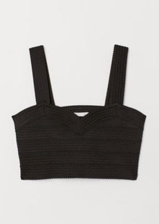 H&M H & M - Short Jersey Top - Black