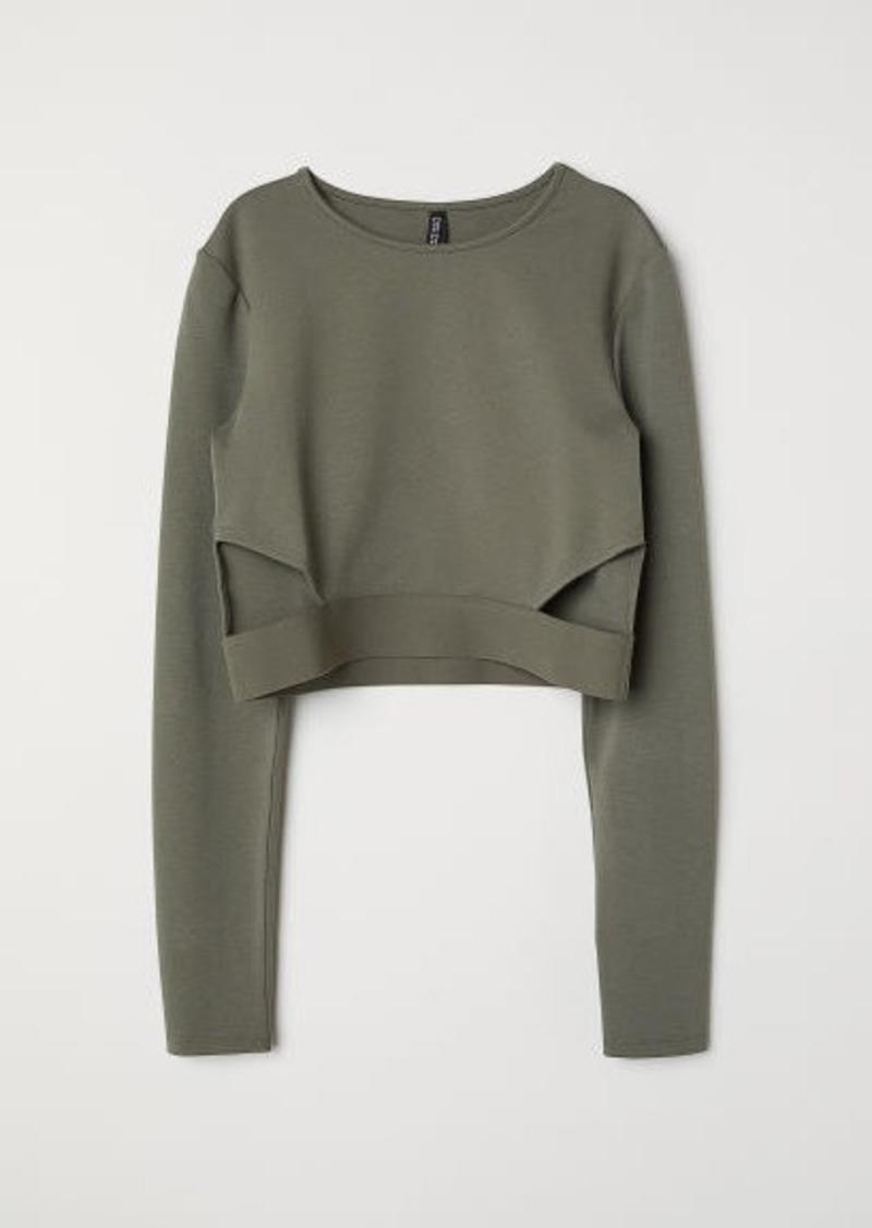 H&M H & M - Short Jersey Top - Green