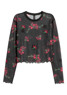 H&M H & M - Short Mesh Top - Black