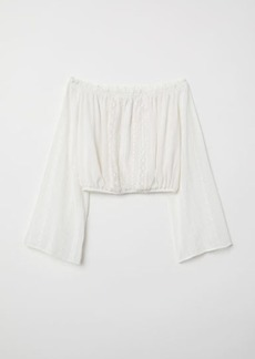 H&M H & M - Short Off-the-shoulder Blouse - White
