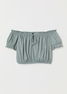 H&M H & M - Short Off-the-shoulder Top - Green