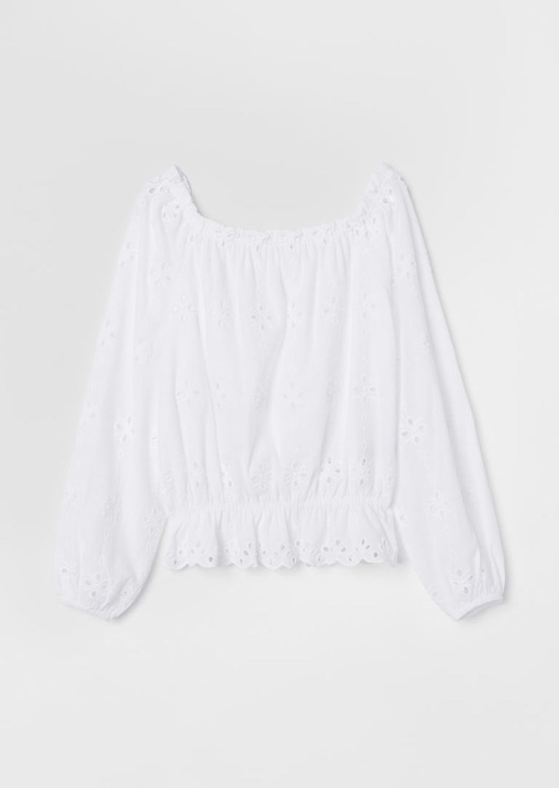 H&M H & M - Short Off-the-shoulder Top - White