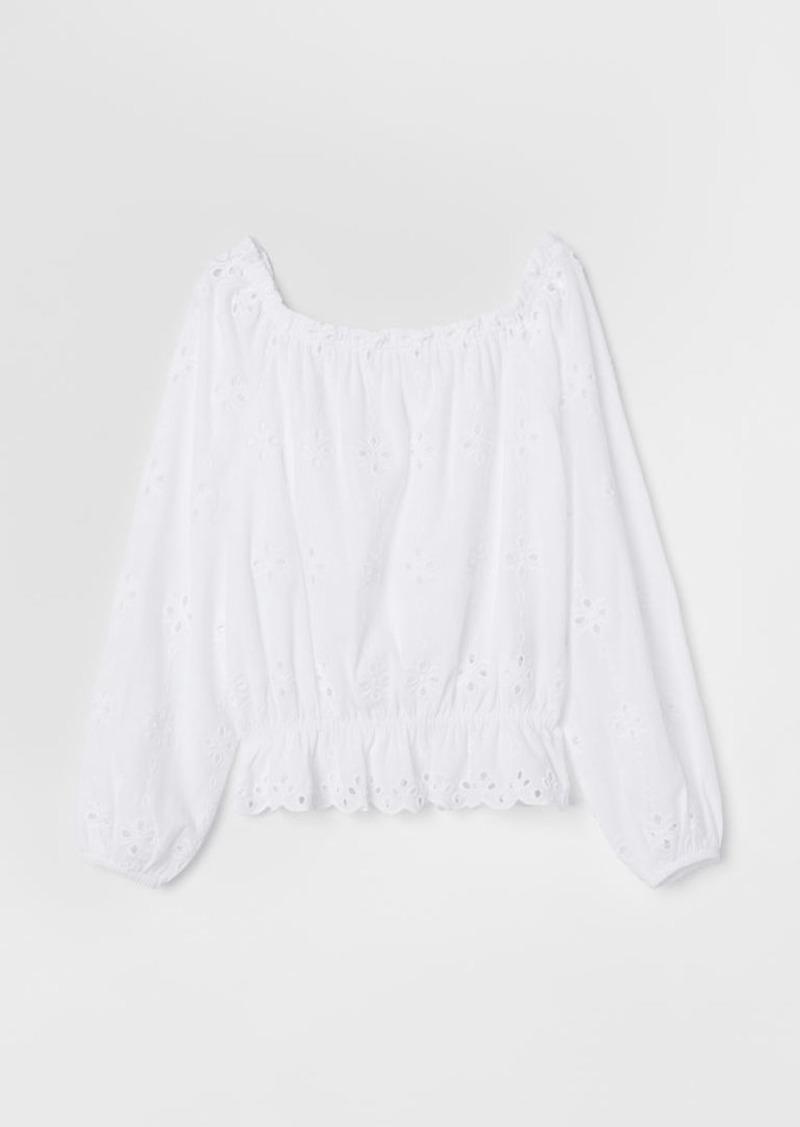 H&M H & M - Short Off-the-shoulder Top - White