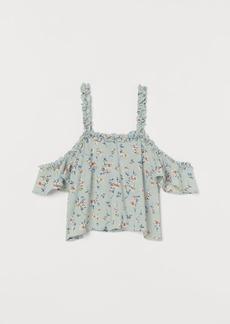 H&M H & M - Short Open-shoulder Top - Turquoise