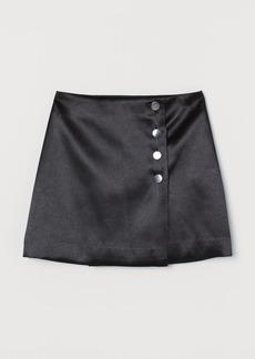 H&M H & M - Short Satin Skirt - Black
