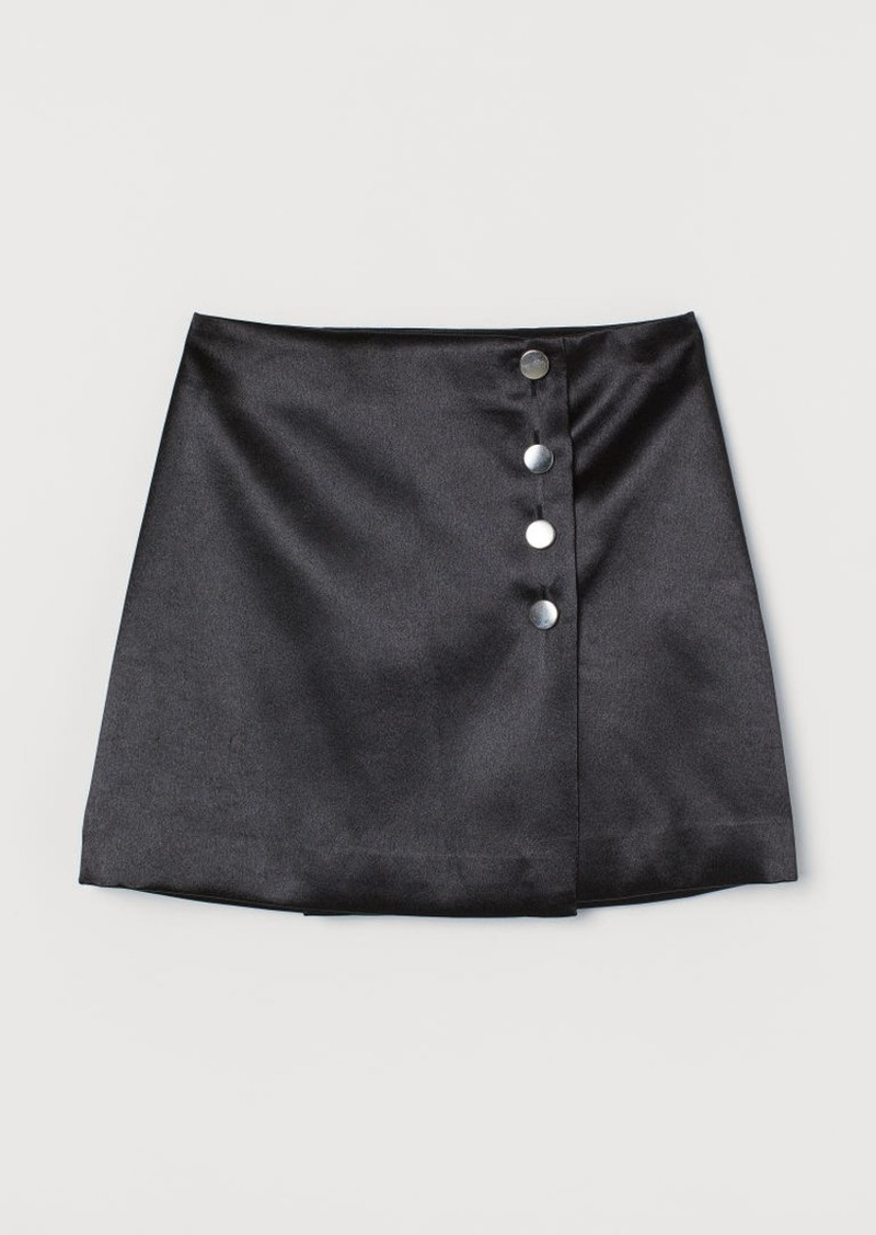 H&M H & M - Short Satin Skirt - Black
