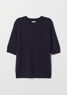 H&M H & M - Short-sleeved Cashmere Sweater - Blue