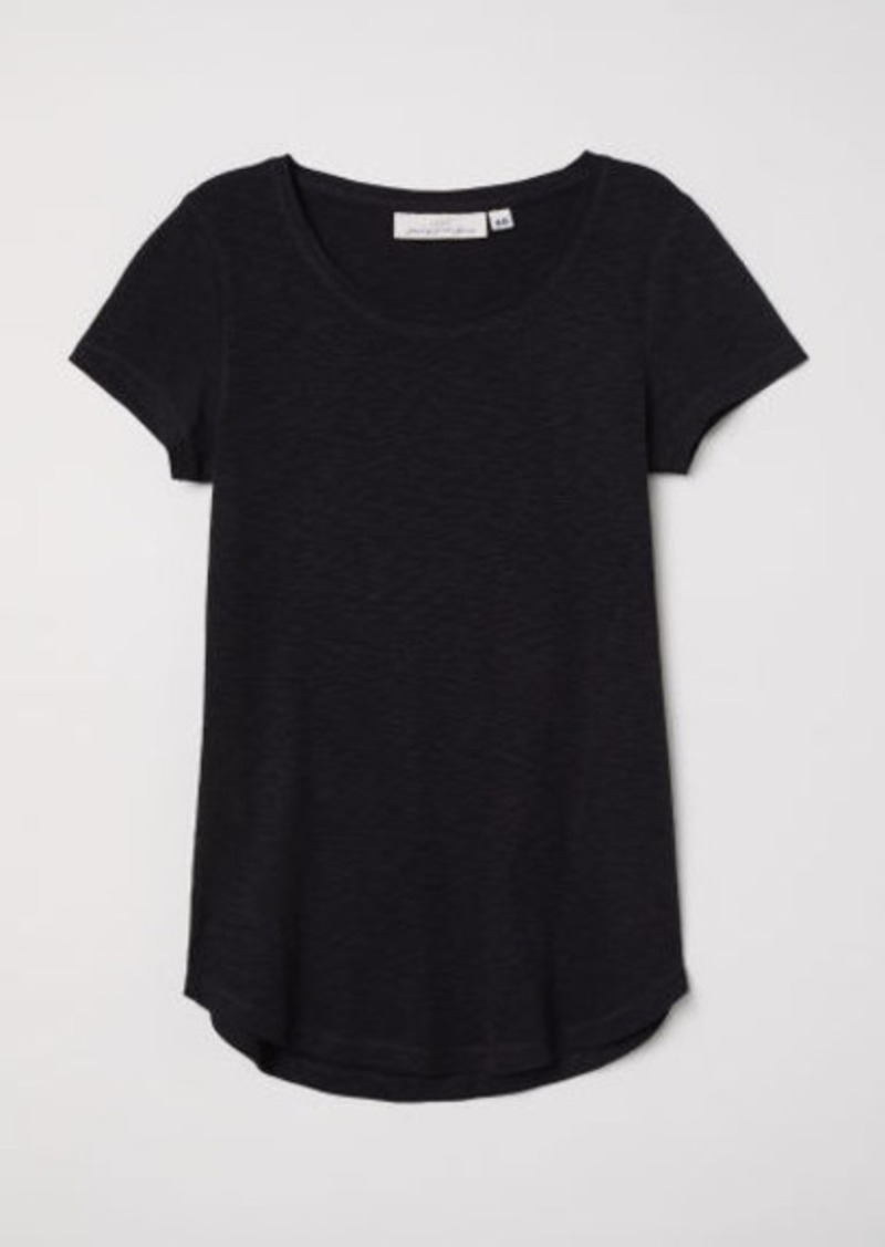 H&M H & M - Short-sleeved Jersey Top - Black
