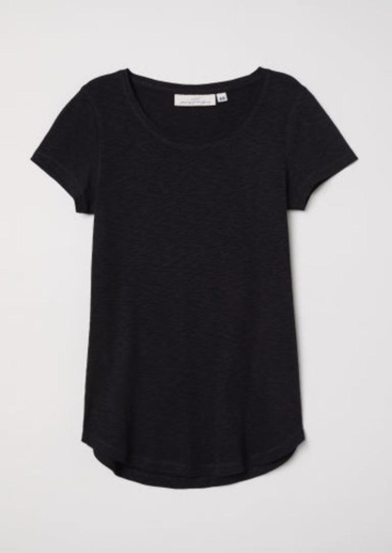 H&M H & M - Short-sleeved Jersey Top - Black