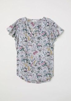 H&M H & M - Short-sleeved Satin Blouse - Gray