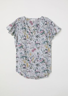 H&M H & M - Short-sleeved Satin Blouse - Gray