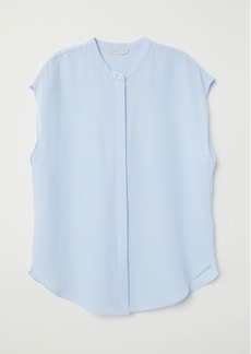 H&M H & M - Short-sleeved Silk Blouse - Blue