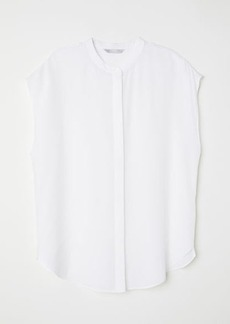 H&M H & M - Short-sleeved Silk Blouse - White