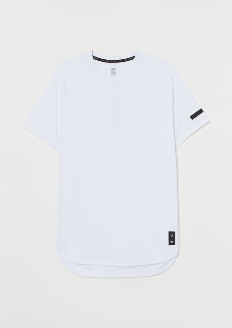 H&M H & M - Short-sleeved Sports Shirt - White