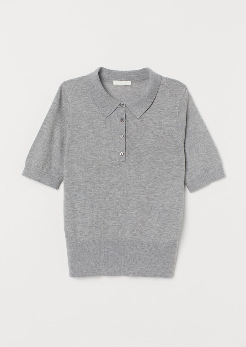 H&M H & M - Short-sleeved Sweater - Gray