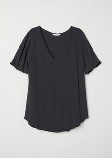 H&M H & M - Short-sleeved Viscose Blouse - Black