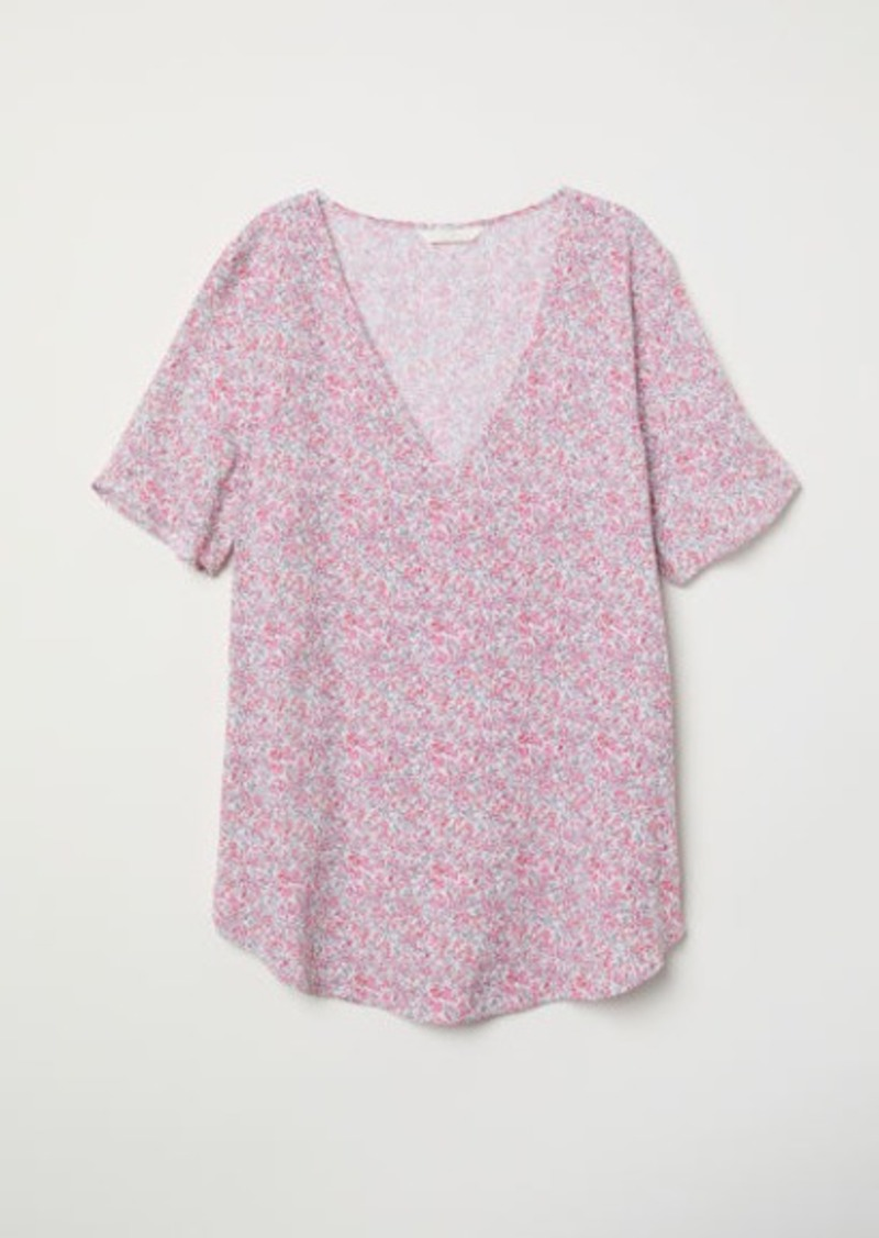 H&M H & M - Short-sleeved Viscose Blouse - White