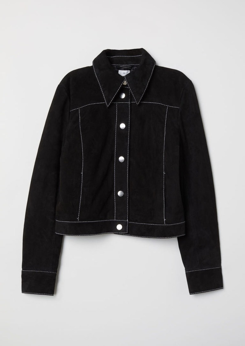 H&M H & M - Short Suede Jacket - Black