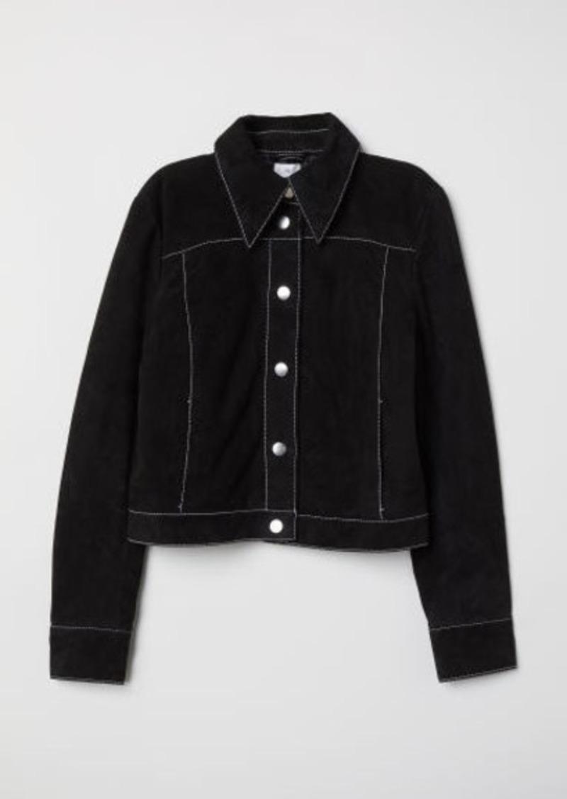 H&M H & M - Short Suede Jacket - Black