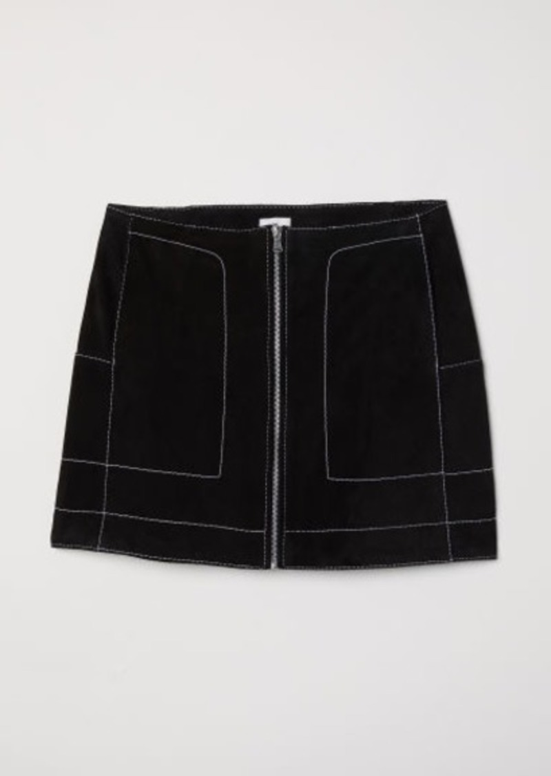 H&M H & M - Short Suede Skirt - Black