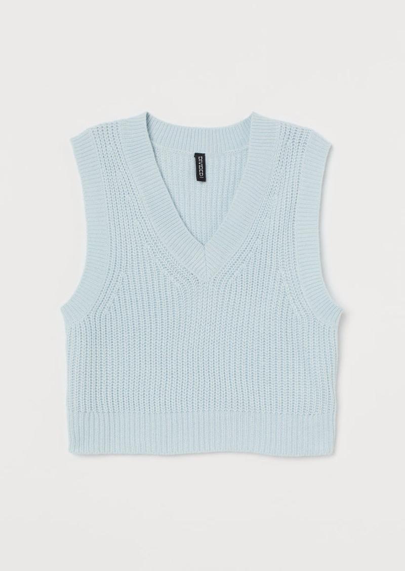 H & M - Short Sweater Vest - Turquoise