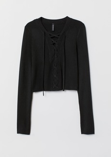 H&M H & M - Short Sweater with Lacing - Black