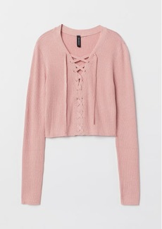 H&M H & M - Short Sweater with Lacing - Pink