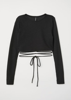 H&M H & M - Short Top with Lacing - Black