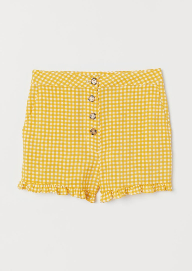 H&M H & M - Shorts High Waist - Yellow