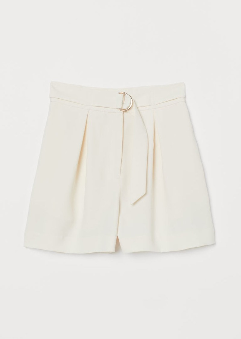 H&M H & M - Shorts with Belt - White
