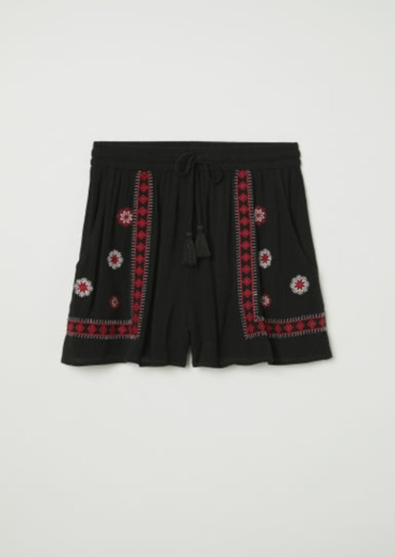 H&M H & M - Shorts with Embroidery - Black