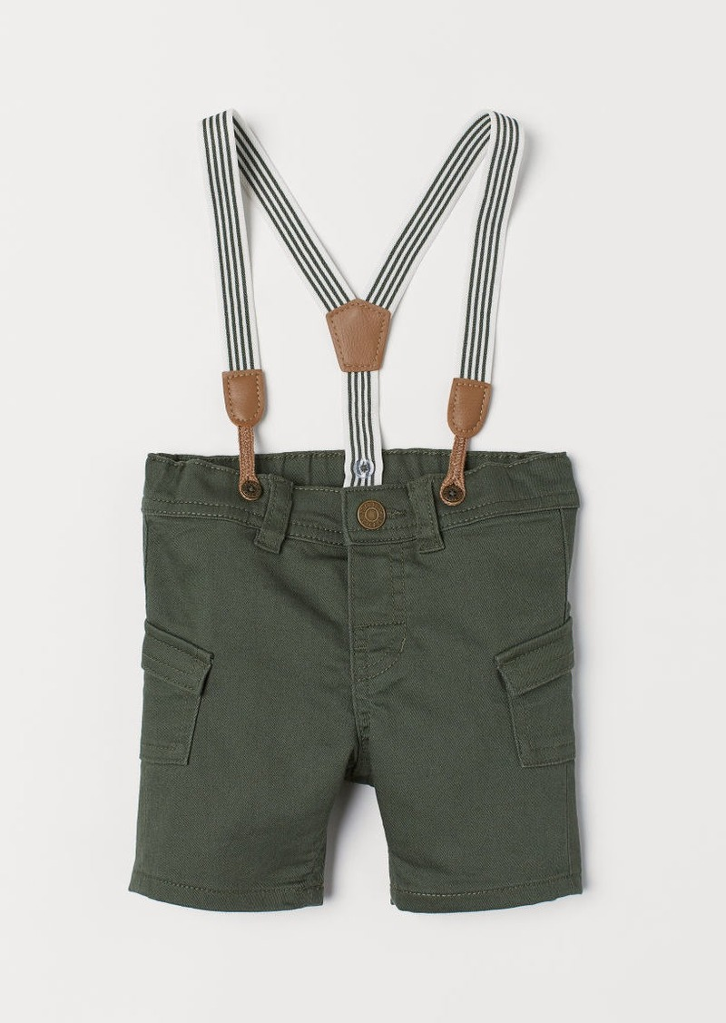 H&M H & M - Shorts with Suspenders - Green