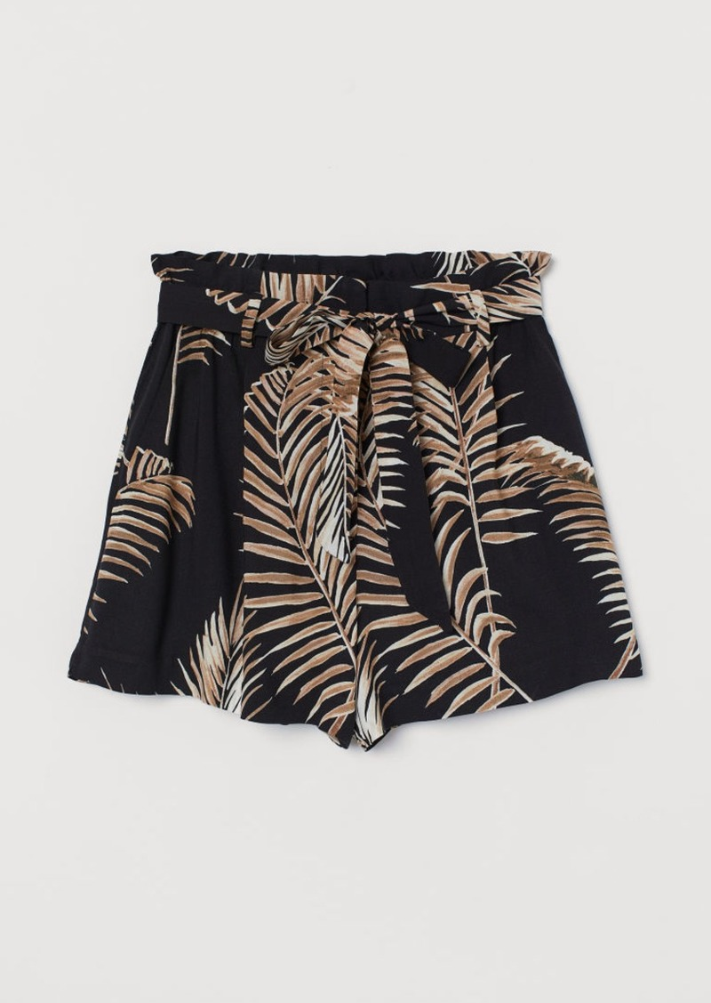 H&M H & M - Shorts with Tie Belt - Black