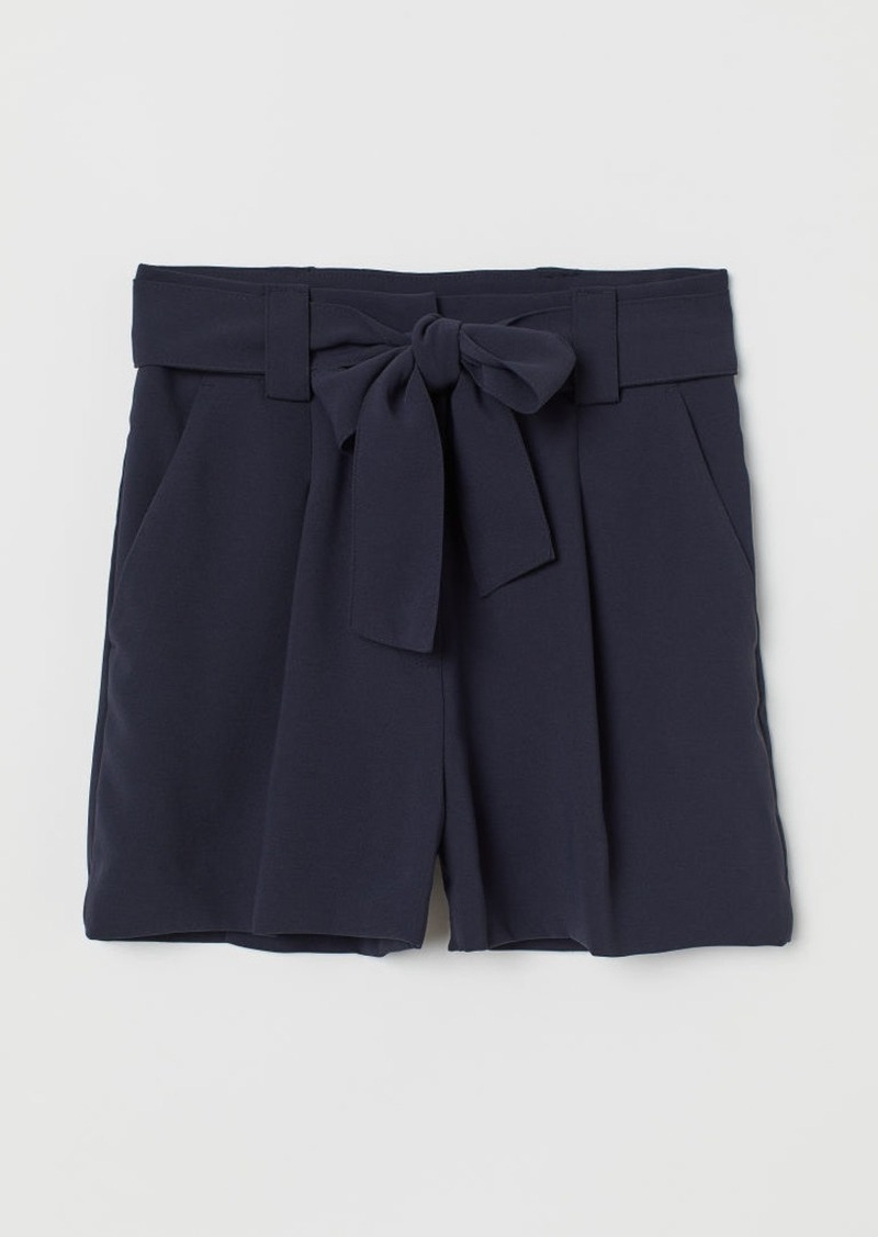 H&M H & M - Shorts with Tie Belt - Blue