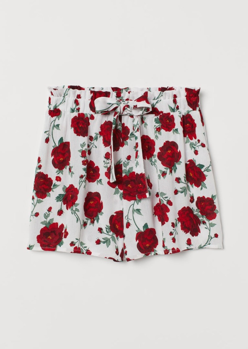 H&M H & M - Shorts with Tie Belt - White