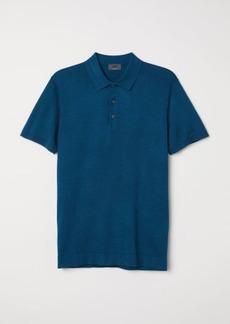 H&M H & M - Silk-blend Polo Shirt - Blue