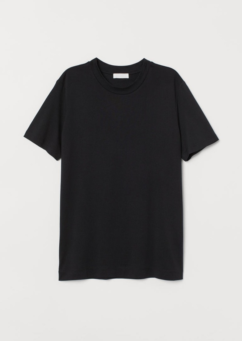H&M H & M - Silk-blend T-shirt - Black
