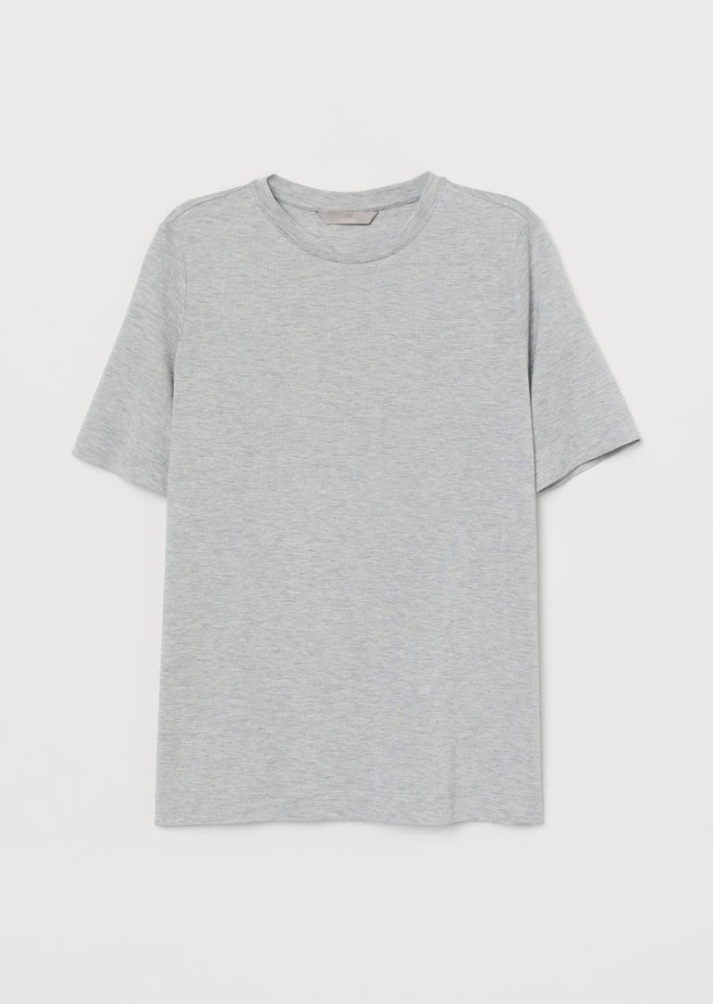 H&M H & M - Silk-blend T-shirt - Gray