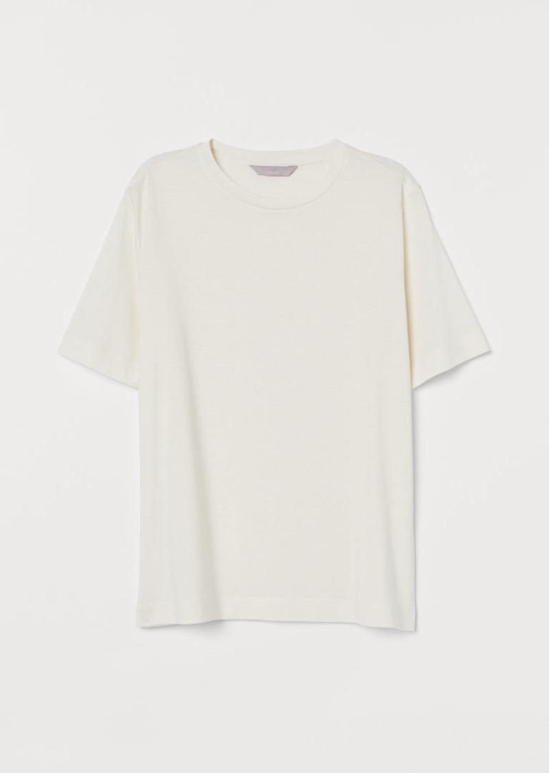 H&M H & M - Silk-blend T-shirt - White