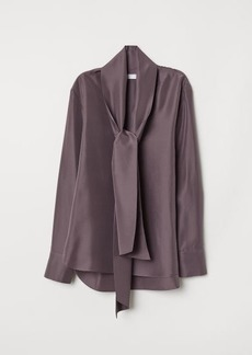 H&M H & M - Silk Blouse with Tie Detail - Purple