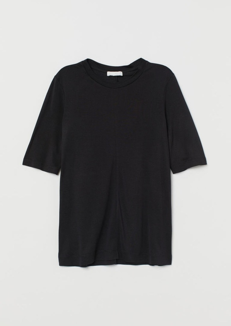 H&M H & M - Silk Jersey T-shirt - Black