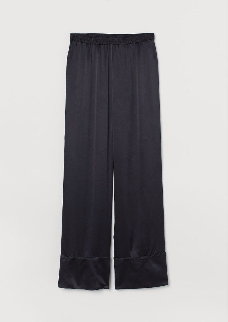 H&M H & M - Silk Pajama Pants - Blue